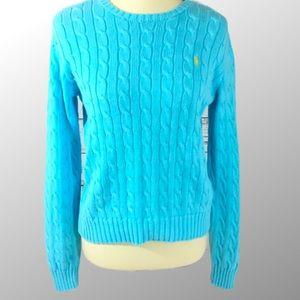 Ralph Lauren knit sweater top sz L blue stretch